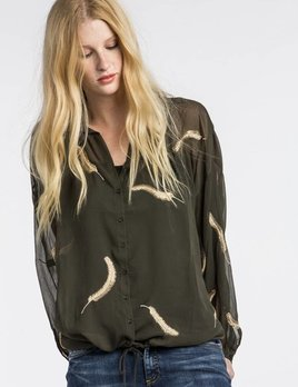 MM Vintage MM Vintage Feather Embroidered Chiffon Blouse Olive Green