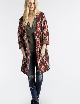 MM Vintage MM Vintage Oversized Jacquard Knit Cardigan Multi Red