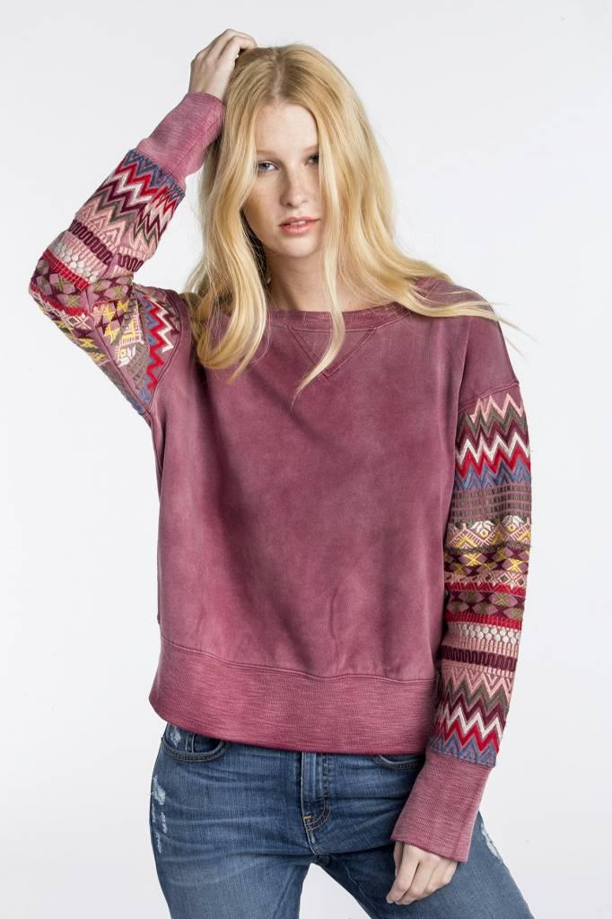 MM Vintage MM Vintage Embroidered Sleeve Sweatshirt Red Wine