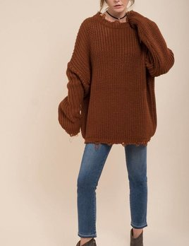 Moon River Moon River Sweater Top Brown