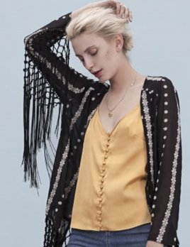 Goldie Black and White Fringe Kimono