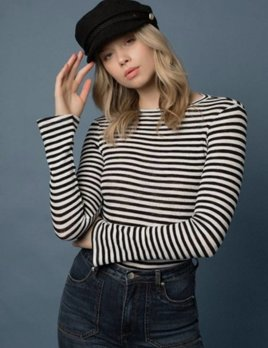 Goldie Goldie Vision Black & Ivory Stripe Long Sleeve Top