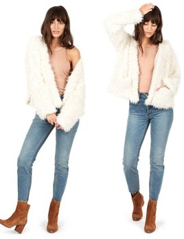 Delacy Delacy Shaggy Faux Fur Jacket Ivory