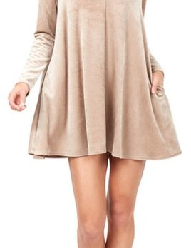 Delacy Delacy Long Sleeve Mini Corduroy Dress Champagne
