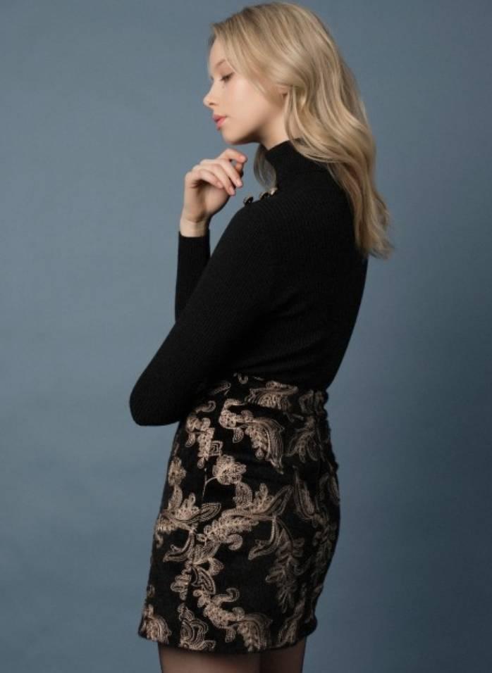 Goldie Goldie Admirral Embroidered Velvet Mini Skirt
