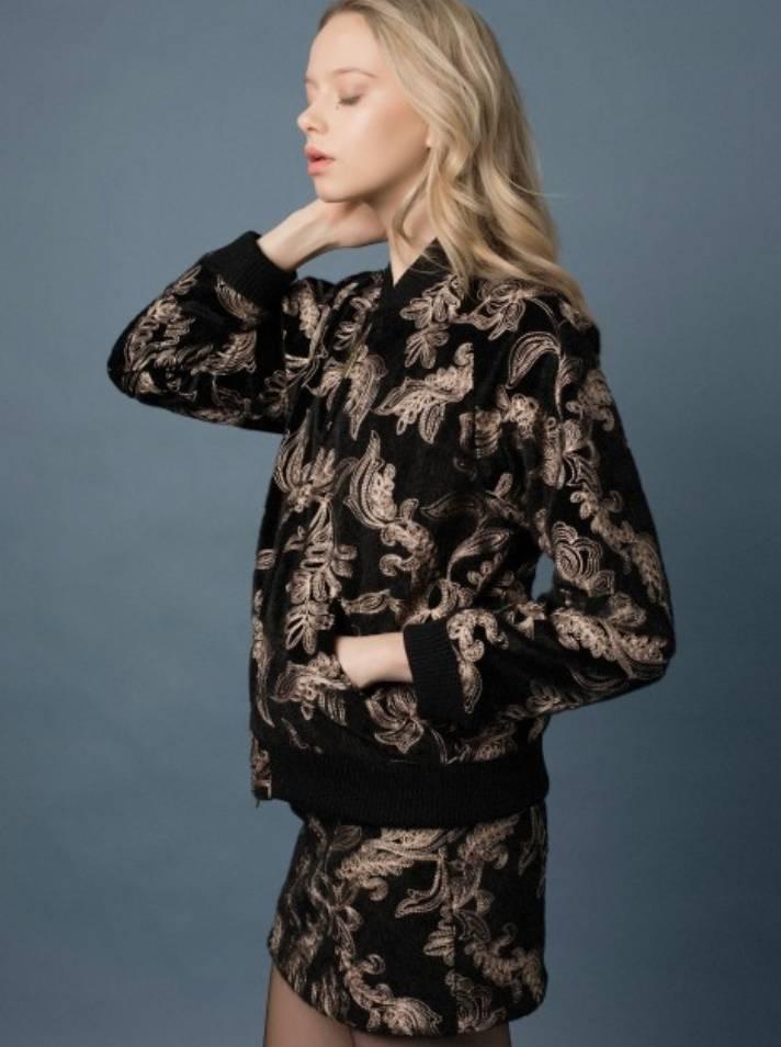 Goldie Goldie Serenity Embroidered Velvet Bomber