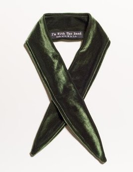 Velvet Scarf Tie Olive Green