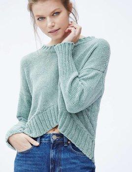Callahan Callahan Chenille High Low Crewneck Sweater Sage
