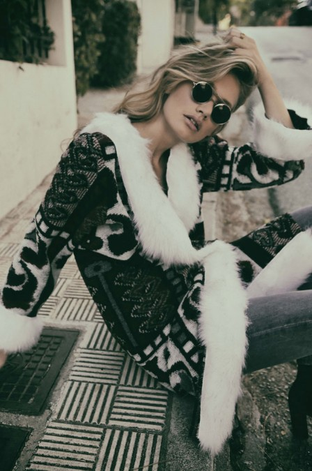 Nidodileda Nidodelida Silence Green Wool Fur Coat