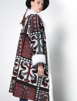 Nidodileda Nidodelida Silence Burgundy Wool Fur Coat
