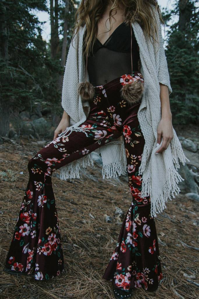 LIFE Clothing Daisy Velvet Floral Bellbottoms Burgundy
