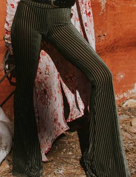 LIFE Clothing Green Stripe Velvet Bellbottoms