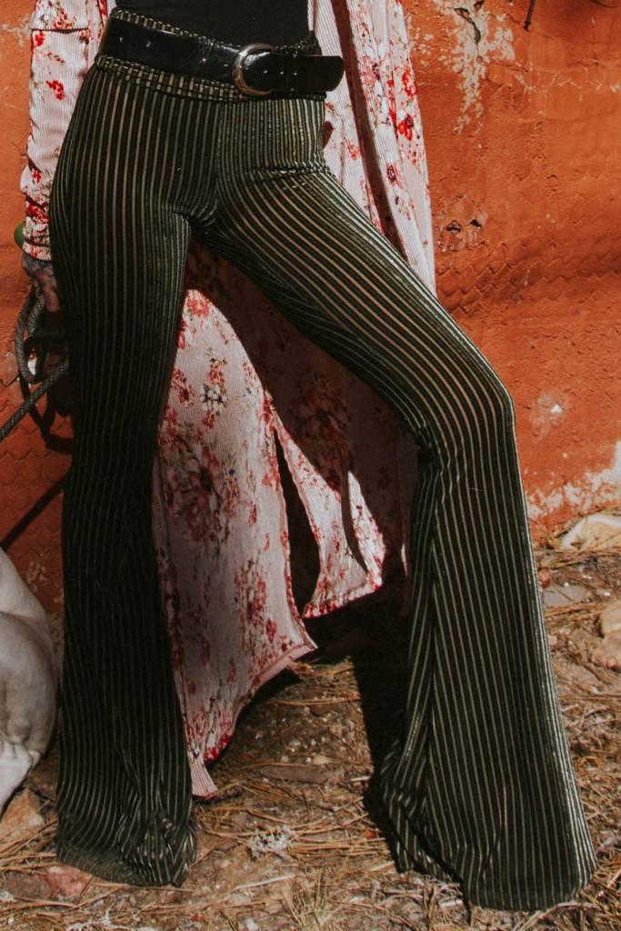 LIFE Clothing Green Stripe Velvet Bellbottoms