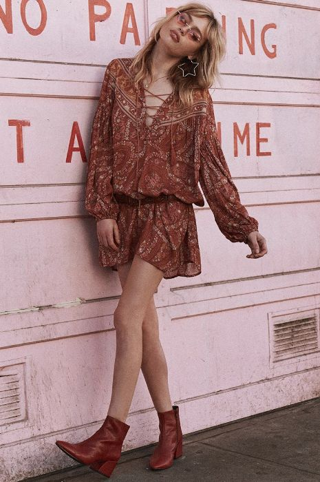 Spell and the Gypsy Collective Spell City Lights Tunic Dress Auburn