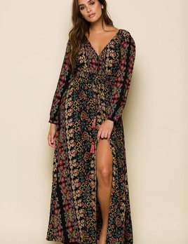 Raga LA Raga Yasmin Duster Maxi Dress Black Floral