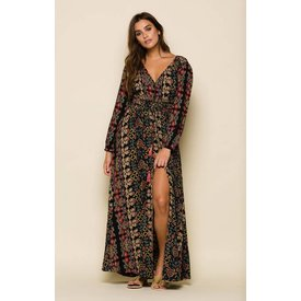 Raga LA Raga Yasmin Duster Maxi Dress Black Floral