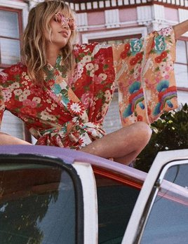 Spell and the Gypsy Collective Spell Delilah Patchwork Kimono - Red