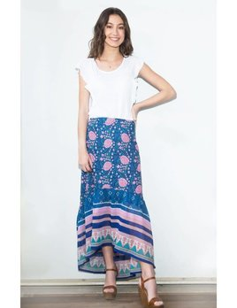 Blue Boheme Poppy Printed Long Skirt Blue