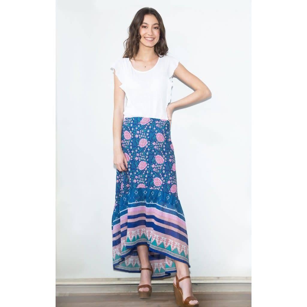 Blue Boheme Poppy Printed Long Skirt Blue