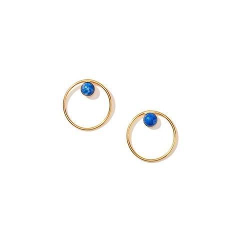 Lapis Gold Circle Earring Lagre