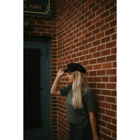 Black Wool Captain's Hat