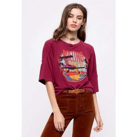 Rolling Stones Around The World Tee Maroon