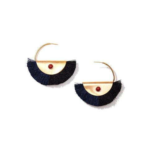 Crescent Silk Fringe Earrings