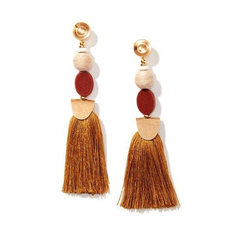 Warm Sunstone Tassel Earrings