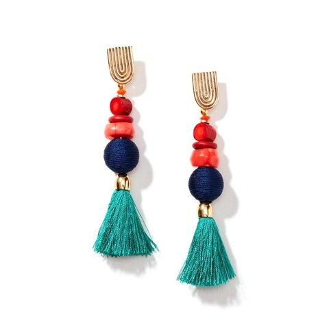 Royal Gemstone Tassel Earrings