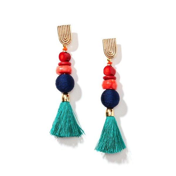 Nectar Nectar Royal Gemstone Tassel Earrings