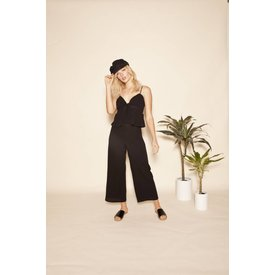 East N' West Label Mara Front Tie Crop Top Black