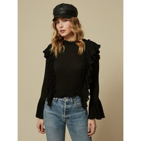 Zoey Ruffle Long Sleeve Black