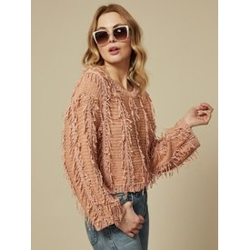 Goldie Peach Fringe Sweater
