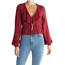 Rollas Ruffle Blouse Currant Mini Spot