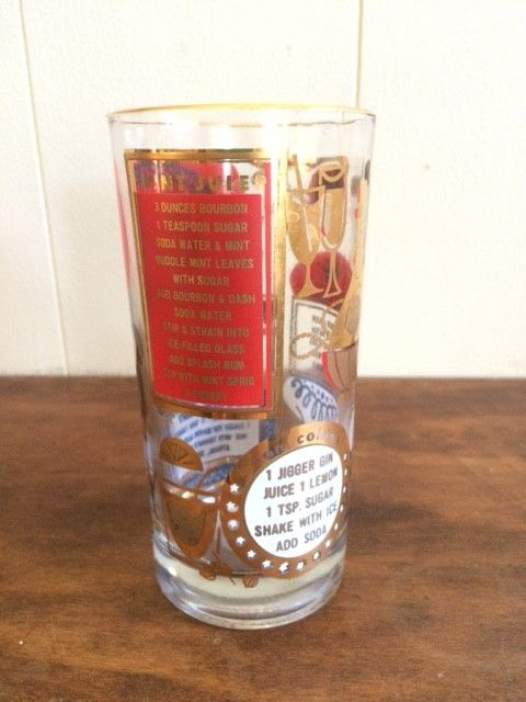 Red and Gold Collins Glasses w/ recipes (?)