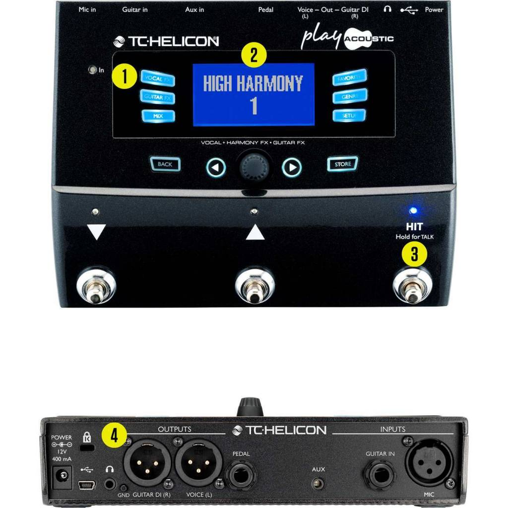 TC Electronics TC Helicon Play Acoustic Vocal + Harmony FX - Guitar FX Pedal