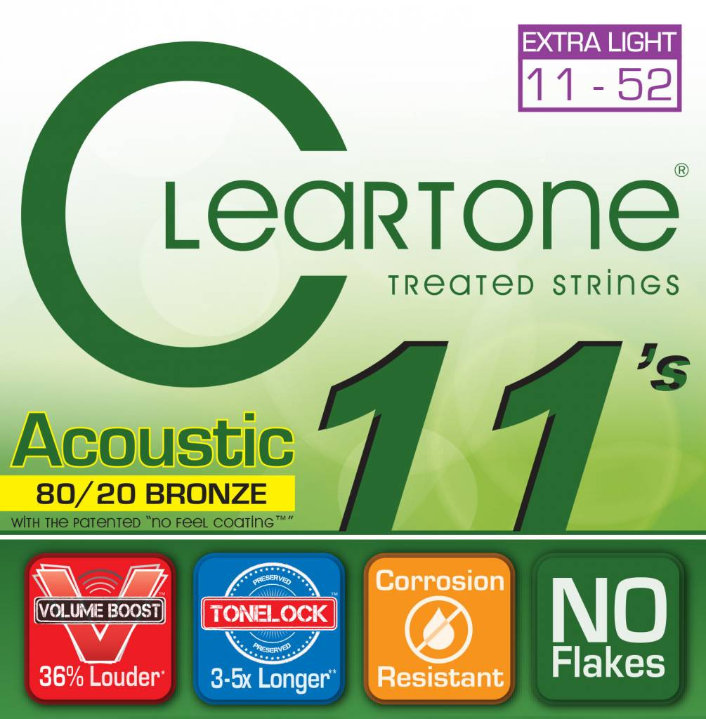 Cleartone Cleartone 80/20 .011-.052 Custom Light Acoustic Strings