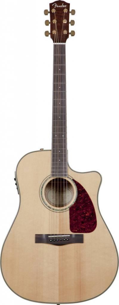 Fender Fender CD220SCE Solid Top Acoustic/Electric, Ash Burl Back/Sides, Natural With Case