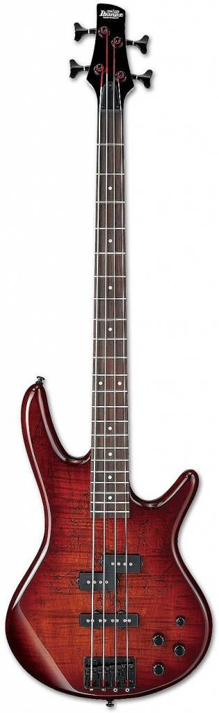 Ibanez Ibanez Gio 200 Series 5 String Bass, Spalted Maple Top, Charcoal Brown Burst