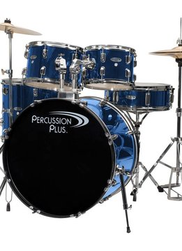 Percussion Plus 5 Piece Complete Drumset - Brushed Blue