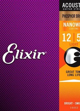 Elixir Elixir Nanoweb Acoustic Phosphor Bronze,  Medium 13-56