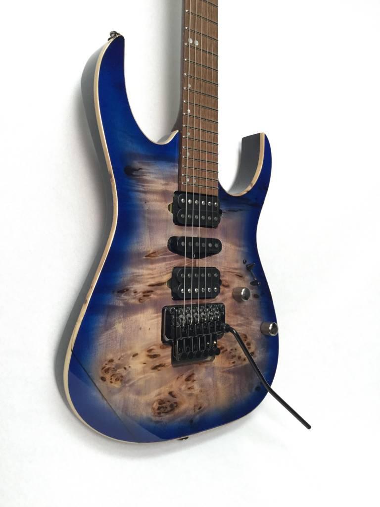 Ibanez Ibanez Premium RG1070PBZ Poplar Burl/American Basswood Electric Guitar- Cerulean Blue Burst