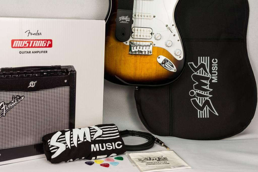 Squier Sims Electric Guitar Package,  Sunburst