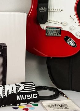 Fender Sims Electric Guitar Package, Red