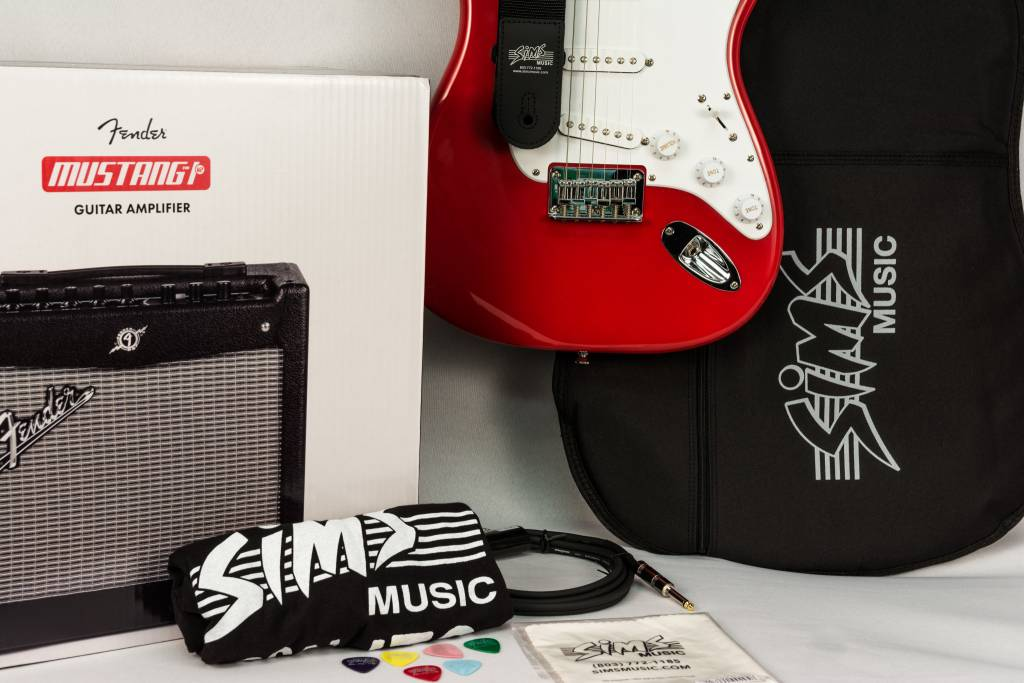 Squier Sims Electric Guitar Package, Red
