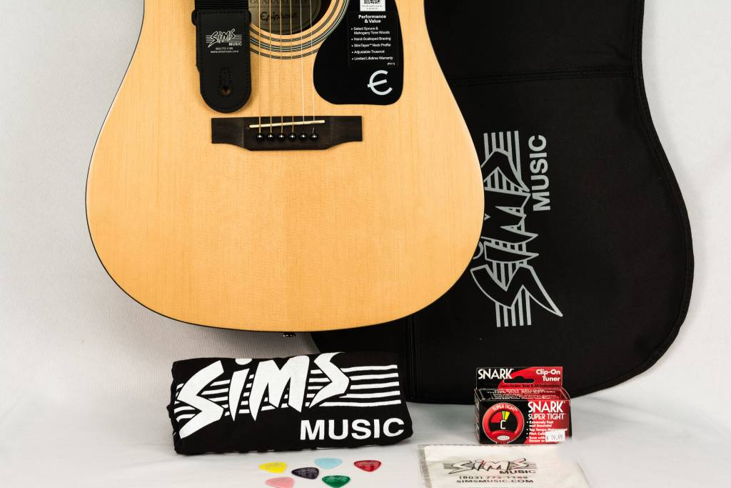Epiphone Sims Acoustic Guitar Package, Natural