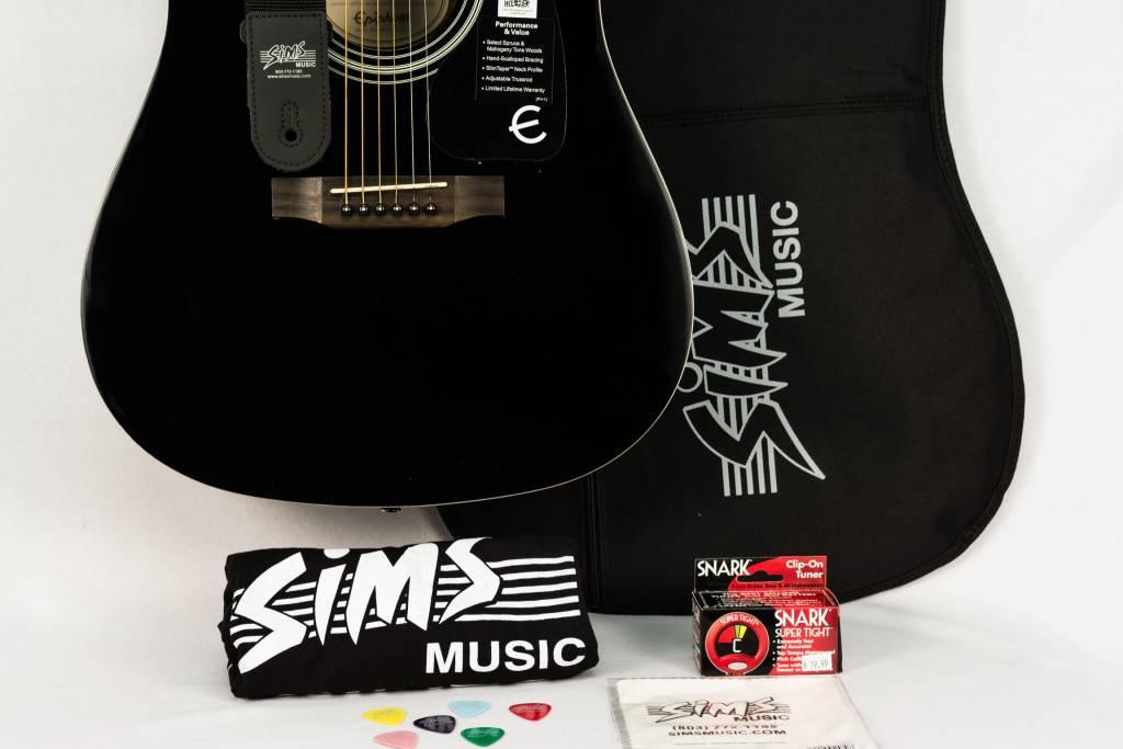 Epiphone Sims Acoustic Guitar Package, Ebony
