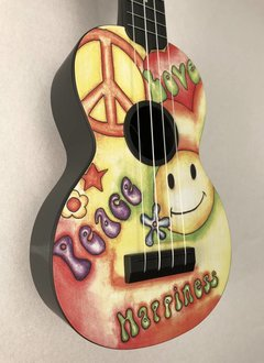 Kala Kala Ukadelic Soprano Ukulele, Yellow Peace And Love