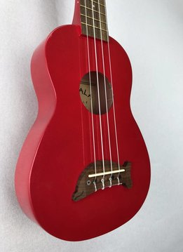 Kala Makala Soprano Dolphin Series Ukulele, Candy Apple Red