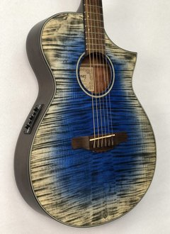 Ibanez Ibanez AEWC32FM Acoustic/Electric Guitar, Flame Maple Glacier Blue Low Gloss